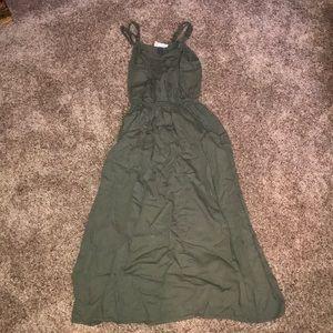 Olive green long dress